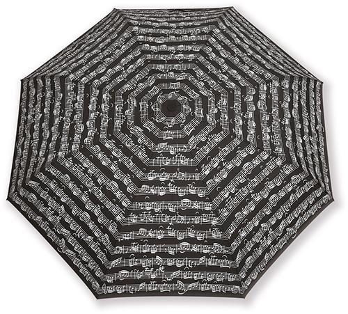 Čierny skladací dáždnik s notami