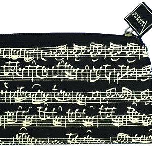 Čierny textilný peračník s notami